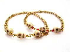 SALE Stackable gold skull arm candy bracelet by StoreV on Etsy