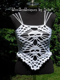 skull tank top crochet summer halter top by WeeBeeUniquesByJulie, $42.00