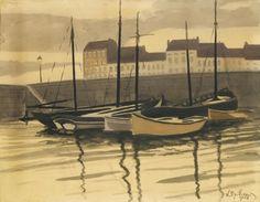 Léon Spilliaert (Belgian, 1881-1946), Porte de pêche, Ostende [Fishing port, Ostend], 1923. Indian ink, watercolour, gouache and coloured pencils on paper, 50.1 x 64.7 cm.