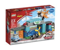 Teach Dusty to fly at Skipper's Flight School! Gather in the air hangar with Sparky and Skipper to get Dusty ready for the big race with an easy-to-build Disney PlanesTM set from LEGO® DUPLO®! Use t...