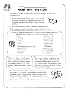 Good Touch - Bad Touch (1pg) Therapy Worksheets, Worksheets For Kids, Math Worksheets, Social Skills Lessons, School Lessons, Tools For Teaching, Teaching Aids, Bad Touch, Classroom Games