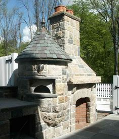Outdoor Fireplace With Pizza Oven! via Our French Inspired Home