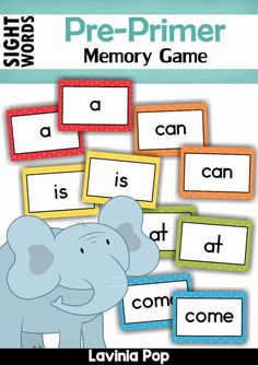 Sight Words Memory Game (Pre-Primer Words) ** Great news! ** ::::: The Sight… Grade 2 Sight Words, Preschool Sight Words, Pre Primer Sight Words, Kindergarten Sight Words List, Sight Word Flashcards, Sight Word Games, Sight Word Activities, Phonics Activities, Kindergarten Flash Cards
