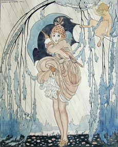 Gerda Wegener L'Averse, from Le Sourire, 1917  Watercolor on paper, 9 7/8 x 7 7/8.
