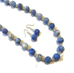 Light Blue and White Agate Beaded Necklace and by CloudNineDesignz, $42.00