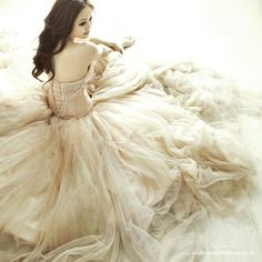 old wedding gown from di, do victorian collar with glamourous hair