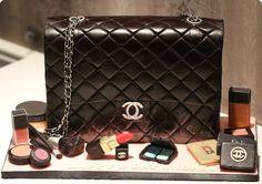 Chanel Black Lambskin Maxi Flap Bag cake with edible Chanel, Dior, Mac, YSL, Bobbi Brown, Nars and Laura Mercier makeups, and Chanel nail polish in 549 Distraction.