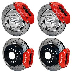 """NEW WILWOOD COMPLETE FRONT & REAR DISC BRAKE KIT WITH LINES, FITTINGS, 12"""" DRILLED ROTORS, RED 6 & 4 PISTON CALIPERS, PADS, 1970 - 1974 FORD MUSTANG, FAIRLANE, FALCON, MAVERICK, RANCHERO, TORINO, MERCURY COUGAR, COMET, CYCLONE, MONTEGO, 1970, 1971, 1972, 1973, 1974 Southwest Speed http://www.amazon.com/dp/B00ROUCQSS/ref=cm_sw_r_pi_dp_5vuxvb1CWY55H"""