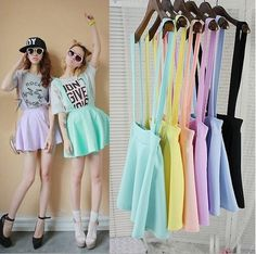 Ice-cream Color Strap Skirt Free shipping -himifashion