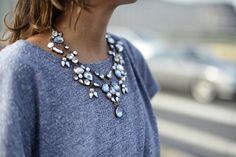 statement necklace & grey T
