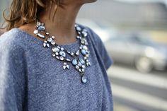 statement necklace & grey T