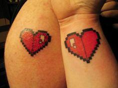 Bit Heart Matching Tattoo 8 bit heart tattoo tattoo and things ...