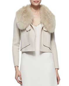 Fox Fur-Collar Cropped Jacket, Dusty Peach by Halston Heritage at Neiman Marcus.