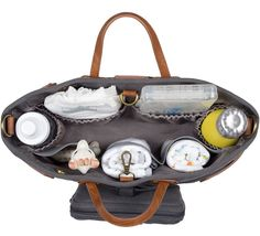Andi 3-in-1 Stroller Organizer in Waxed Charcoal with Tan Straps