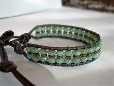 Czech Blue Opal Picasso Copper Beaded Leather Wrap Bracelet Handmade Boho Chic #Handmade #Wrap