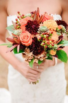 Bouquet with coral roses and dahlias, with deep burgundy florals and greens. Barn Wedding in Knoxville Tennessee Lilac Wedding, Fall Wedding Bouquets, Fall Wedding Flowers, Wedding Flower Arrangements, Autumn Wedding, Wedding Tips, Wedding Colors, Boquette Wedding, Bridal Tips
