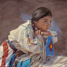 White Wolf : Incredibly Detailed Native American Paintings By Ann Hanson Native American Children, Native American Wisdom, American Spirit, Native American Indians, Native American Paintings, Native American Artists, Portraits, Portrait Art, American Indian Art