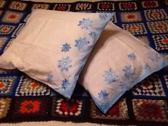 Pillow sheets hand printed snow flakes.