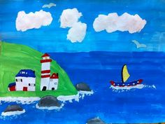 Expression of Imagination: Maud Lewis Inspired Folk Art by Grade 6 Maudie Lewis, Kids Art Galleries, Lighthouse Painting, 4th Grade Art, Canadian Art, Summer Art, Teaching Art, Elementary Art, Cool Artwork