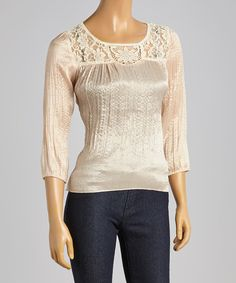Another great find on #zulily! Young Essence Beige Lace-Yoke Cutout Top by Young Essence #zulilyfinds
