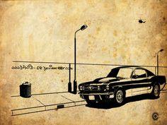 """Ford Mustang. El Ford Mustang es un automóvil deportivo de tipo muscle/pony producido por el fabricante estadounidense Ford desde 1964. El Mustang es el símbolo de los """"pony cars"""", las versiones deportivas de los compactos norteamericanos de antes de... - foose_belair"""