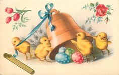 Easter bell egg flowers roses tulips chickens fantasy landscape Paques fantaisie