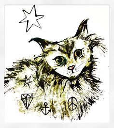 Cat ink drawing by Lizzie Reakes
