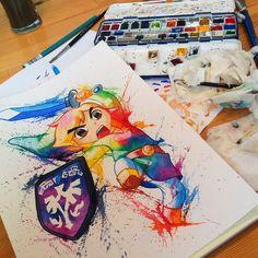 Link watercolor by @littlegeekyfanart
