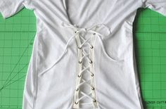 The lace up trend is a fun detail and easy update to do on an oversized/boxy t-shirt like I did into a corset top. Try this simple. Renaissance Shirt, Diy Corset, Trash To Couture, T Shirt Diy, Fashion Sewing, Diy Clothes, My Style, Top, Shirts