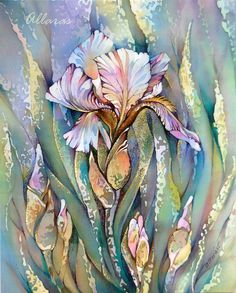 Iris. Original Painting on Silk. Flower painting. 20 x by Allaras