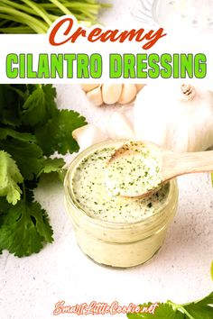 Creamy cilantro dressing is a tangy and flavorful sauce that's perfect for dipping or a sauce for topping salads. It takes minutes to make and requires just a few simple ingredients. I love cilantro and this recipe really makes the most of it's bright, fresh and herbal flavors. This creamy cilantro dressing be used as a sauce or dip and it's an easy way to elevate a simple salad. | Smart Little Cookie @smartlittlecookie #cilantrodressing #homemadesaladdressing #cilantrodip #smartlittlecookie Side Dish Recipes, Easy Dinner Recipes, Summer Recipes, Easy Meals, Delicious Recipes, Easy Salads, Healthy Salad Recipes, Healthy Breakfast Recipes, Friend Recipe