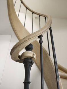 Like the vertical iron supports Stair Railing Design, Stair Handrail, Staircase Railings, Grand Staircase, Stairways, Stair Elevator, Bespoke Staircases, Carpet Staircase, Stairs Architecture