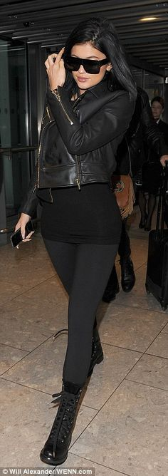 Kylie Jenner opts for grown-up glam in leather jacket and leggings - Kylie Jenner Style Kylie Jenner 2014, Kylie Jenner Outfits, Kylie Jenner Style, Celebrity Outfits, Edgy Outfits, Celebrity Style, Cute Outfits, Kardashian, Autumn Winter Fashion