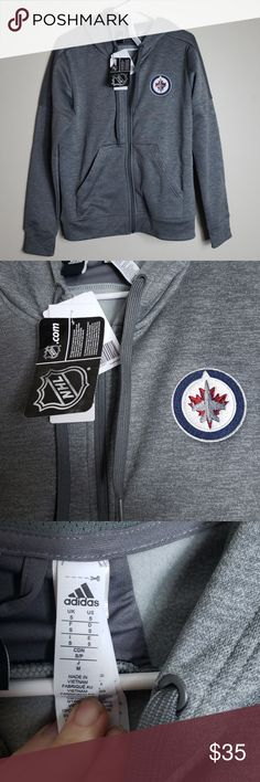 65f7c1c1a5e3 NWT Adidias Winnipeg Jets hooded zipup sweatshirt Brand new with tags  official NHL merchandise. Full