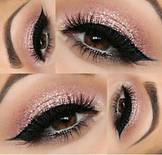 Nails pink glitter tips make up Ideas Cute Makeup, Prom Makeup, Pretty Makeup, Bridal Makeup, Wedding Makeup, Makeup Goals, Makeup Inspo, Makeup Inspiration, Makeup Style