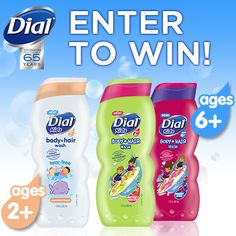 """Celebrate 65 Years with Dial® brand! "" I entered to win. Be one of the first to try NEW Dial® Kids Body & Hair Wash! Enter our Dial® 65th Celebration Sweepstakes now!"