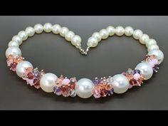 Колье из акриловых и стеклянных бусин мастер класс DIY Necklace from crystals beads - YouTube