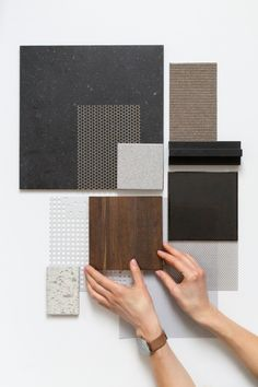 Sampleboard for an office in a old bicycle factory. Our ambition is to preserve the house's ancient spirit and at the same time create a modern and flexible meeting place. Colour Pallete, Colour Schemes, Bd Design, Interior Design Boards, Moodboard Interior Design, Palette Deco, Material Board, Material Design, Mood And Tone