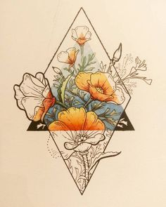 Tattoos I love this idea with my families birth flowers with an earth symbol in the tria. I love this idea with my families birth flowers with an earth symbol in the triangle. Back of my arm would be perfect. Skin Art, Sketches, Tattoos, Illustration, Art Drawings, Art Tattoo, Drawings, Art, Artsy