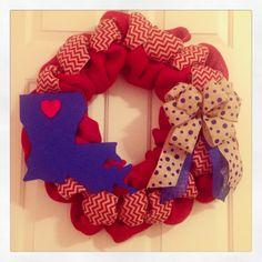 My Louisiana Tech inspired wreath. #Louisianapride