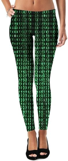 Glow In The Dark Matrix Code Custom Rave Party Street Style Leggings by Willy Badu.
