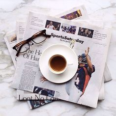 Coffee and papers.
