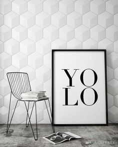 YOLO You Only Live Once Carpe Diem Typographic Black by planeta444