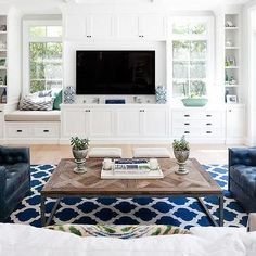 Living Room Built In TV Cabinets Flanked by Built In Window Seats