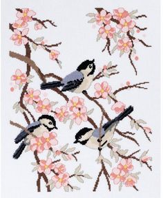 Chickadees and Apple Blossoms - Cross Stitch Kit