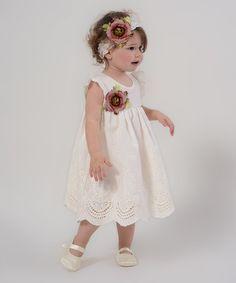 Another great find on #zulily! Ivory & Burgundy Floral Eyelet Dress & Headband - Infant #zulilyfinds