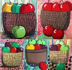 GRADE 2 | Menlo Park Art Apple Art Projects, Fall Art Projects, Classroom Art Projects, Art Classroom, Art Drawings For Kids, Art For Kids, Arte Elemental, Fun Craft, 2nd Grade Art