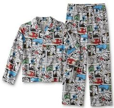 DC Comics Pajamas Boy's 8 Button Shirt Pants PJs Set The Flash Batman for sale online