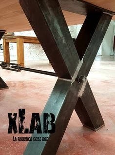 x-table tavolo design industriale originale xlab Unique Furniture, Industrial Furniture, Vintage Industrial, Furniture Design, Outdoor Furniture, Metal Table Legs, Wood Table, Table And Chairs, Chair Bench