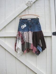 Boho skirt, CUSTOM ORDER for you...Rustic skirt, tattered denim skirt, denim pixie skirt, Upcycled clothing, Eco